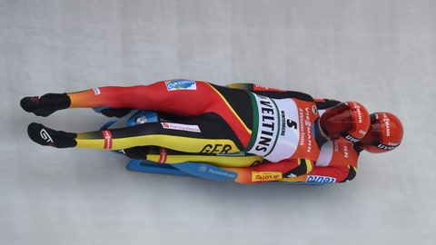 <p>               Toni Eggert, left and Sascha Benecken from Germany in action during the men's luge World Championships in Winterberg, Germany, Saturday, Jan.26, 2019. (Caroline Seidel/dpa via AP)             </p>