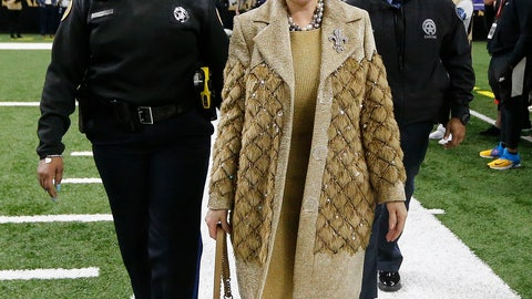 <p>               New Orleans Saints owner Gayle Benson arrives before the NFL football NFC championship game against the Los Angeles Rams, Sunday, Jan. 20, 2019, in New Orleans. (AP Photo/Gerald Herbert)             </p>