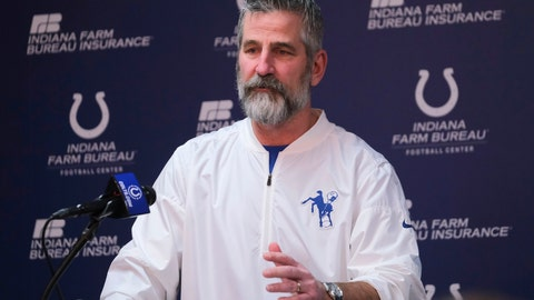 <p>               Indianapolis Colts head coach Frank Reich speaks during a news conference at the NFL team's facility in Indianapolis, Sunday, Jan. 13, 2019. The team ended their season with a loss to Kansas City in a playoff game the day before. (AP Photo/AJ Mast)             </p>