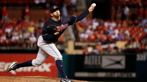 <p>               FILE - In this June 27, 2018, fil photo, Cleveland Indians relief pitcher Oliver Perez throws during the eighth inning of a baseball game against the St. Louis Cardinals, in St. Louis. The Indians have re-signed free agent reliever Oliver Perez for next season.(AP Photo/Jeff Roberson, File)             </p>