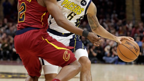<p>               Indiana Pacers' Cory Joseph (6) drives against Cleveland Cavaliers' Collin Sexton (2) during the second half of an NBA basketball game Tuesday, Jan. 8, 2019, in Cleveland. The Pacers won 123-115. (AP Photo/Tony Dejak)             </p>