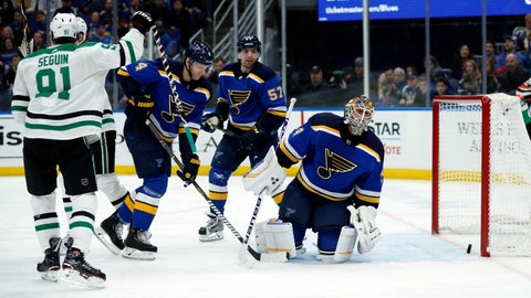 <p>               Dallas Stars' Tyler Seguin (91) celebrates after scoring against St. Louis Blues goaltender Jake Allen, right, during the first period of an NHL hockey game Tuesday, Jan. 8, 2019, in St. Louis. (AP Photo/Jeff Roberson)             </p>