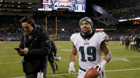 <p>               Philadelphia Eagles wide receiver Golden Tate (19) celebrates after an NFL wild-card playoff football game against the Chicago Bears Sunday, Jan. 6, 2019, in Chicago. The Eagles won 16-15. (AP Photo/David Banks)             </p>