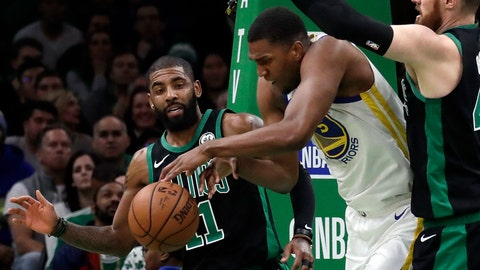 <p>               Golden State Warriors center Kevon Looney (5) tries to maintain control of the ball against Boston Celtics guard Kyrie Irving (11) and center Aron Baynes, right, in the first quarter of an NBA basketball game, Saturday, Jan. 26, 2019, in Boston. (AP Photo/Elise Amendola)             </p>