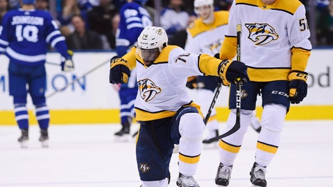 <p>               Nashville Predators defenseman P.K. Subban (76) celebrates his goal against the Toronto Maple Leafs as teammate Matt Irwin looks on during second-period NHL hockey game action in Toronto, Monday, Jan. 7, 2019. (Nathan Denette/The Canadian Press via AP)             </p>