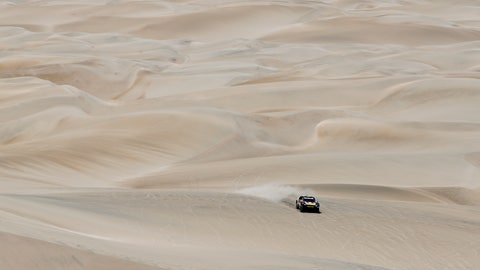 <p>               Driver Sebastien Loeb, of France, and co-driver Daniel Elena, of Monaco, race their Peugeot during the stage six of the Dakar Rally between Arequipa and San Juan de Marcona, Peru, Sunday, Jan. 13, 2019. (AP Photo/Ricardo Mazalan)             </p>