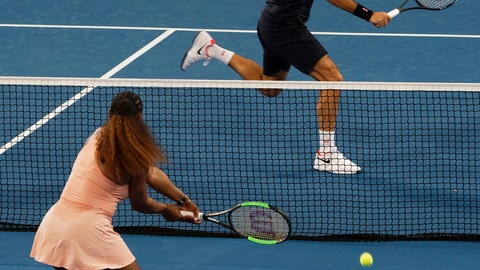<p>               FILE - In this Jan. 1, 2019, file photo, Roger Federer of Switzerland returns the ball to Serena Williams of the United states during their mixed doubles tennis match at the Hopman Cup in Perth, Australia. It was a terrific moment for tennis, drawing tons of attention to an otherwise meaningless exhibition event and a recently dormant sport just starting its new season: Serena Williams and Roger Federer sharing a court. (AP Photo/Trevor Collens, File)             </p>