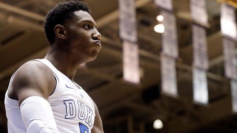 <p>               Duke's RJ Barrett reacts following a basket against Virginia during the second half of an NCAA college basketball game in Durham, N.C., Saturday, Jan. 19, 2019. Duke won 72-70. (AP Photo/Gerry Broome)             </p>
