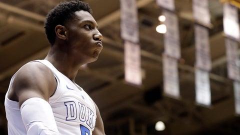 <p>               Duke's RJ Barrett reacts following a basket against Virginia during the second half of an NCAA college basketball game in Durham, N.C., Saturday, Jan. 19, 2019. Duke won 72-70. (AP Photo/Gerry Broome)             </p>