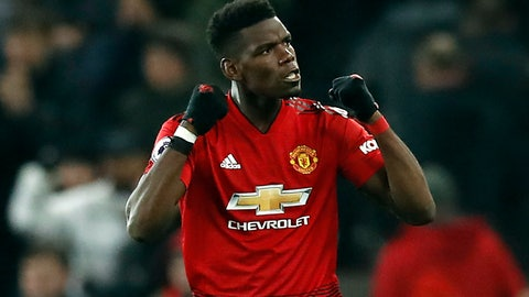 <p>               Manchester United's Paul Pogba celebrates after the final whistle of the English Premier League soccer match between Manchester United and Brighton at Old Trafford, Manchester, England, Saturday, Jan. 19, 2019. (Martin Rickett/PA via AP)             </p>
