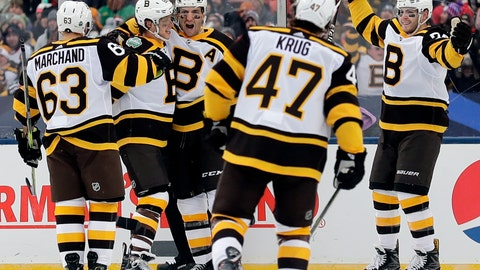 <p>               Boston Bruins center Patrice Bergeron (37), center, celebrates with teammates after scoring his goal in the second period of the NHL Winter Classic hockey game against the Chicago Blackhawks at Notre Dame Stadium, Tuesday, Jan. 1, 2019, in South Bend, Ind. (AP Photo/Nam Y. Huh)             </p>