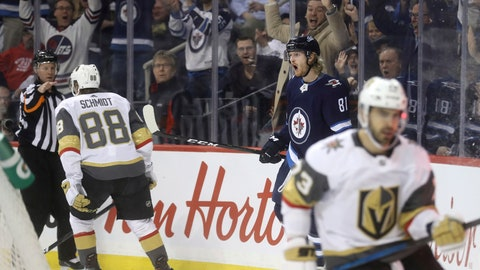 <p>               Winnipeg Jets' Kyle Connor (81) celebrates after scoring against the Vegas Golden Knights' as Nate Schmidt (88) and Brandon Pirri (73) react during the second period of an NHL hockey game Tuesday, Jan. 15, 2019, in Winnipeg, Manitoba. (Trevor Hagan/The Canadian Press via AP)             </p>