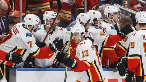 <p>               Calgary Flames' Johnny Gaudreau (13) celebrates a goal the Edmonton Oilers during the second period of an NHL hockey game in Edmonton, Alberta, Saturday, Jan. 19, 2019. (Jason Franson/The Canadian Press via AP)             </p>