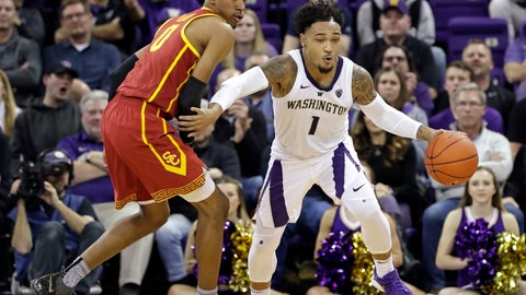 <p>               Washington's David Crisp (1) races past Southern California's Shaqquan Aaron during the second half of an NCAA college basketball game Wednesday, Jan. 30, 2019, in Seattle. Washington won 75-62. (AP Photo/Elaine Thompson)             </p>