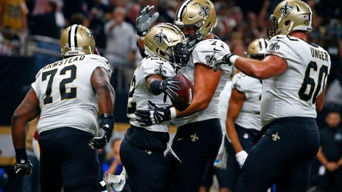 <p>               In this Oct. 8, 2018 file photo New Orleans Saints running back Mark Ingram, second left, celebrates his touchdown carry with offensive tackle Ryan Ramczyk, offensive tackle Terron Armstead (72) and center Max Unger (60) in the first half of an NFL football game against the Washington Redskins in New Orleans. The Saints have all five starters on their recently banged-up offensive line practicing as they prepare for their playoff opener against the defending champion Philadelphia Eagles on Sunday, Jan. 13, 2019. Terron Armstead says he was encouraged by his practice in more than two weeks. But he isn't yet certain he'll play as he tries to come back from a chest injury. (AP Photo/Butch Dill, file)             </p>