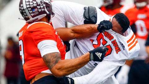 <p>               South offensive tackle Tytus Howard of Alabama State (58) loses his helmet in a drill with South defensive end Montez Sweat of Mississippi State (9) during practice for Saturday's Senior Bowl college football game, Tuesday, Jan. 22, 2019, in Mobile, Ala. (AP Photo/Butch Dill)             </p>