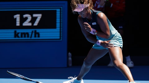 <p>               Japan's Naomi Osaka throws her racket in frustration during her third round match against Taiwan's Hsieh Su-Wei at the Australian Open tennis championships in Melbourne, Australia, Saturday, Jan. 19, 2019. (AP Photo/Kin Cheung)             </p>