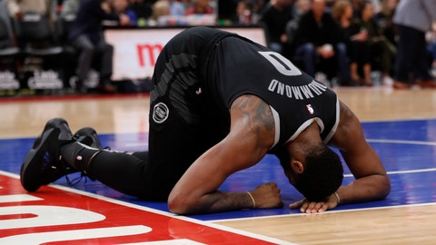 <p>               Detroit Pistons center Andre Drummond recovers from a hit to the face during the first half of an NBA basketball game against the Miami Heat, Friday, Jan. 18, 2019, in Detroit. (AP Photo/Carlos Osorio)             </p>