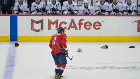 <p>               FILE - In this Jan. 22, 2019, file photo, Washington Capitals left wing Alex Ovechkin skates past the San Jose Sharks bench as he celebrates his goal for a hat trick in the third period of an NHL hockey game in Washington. Hat tricks are on the rise around the league. There have been 61 hat tricks through the first 770 games of the season. That is the most since 1995-96, according to research by the NHL stats and information department. (AP Photo/Alex Brandon, File)             </p>