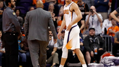 <p>               Phoenix Suns guard Devin Booker (1) leaves the game after being ejected during the second half of an NBA basketball game against the Minnesota Timberwolves, Tuesday, Jan. 22, 2019, in Phoenix. (AP Photo/Matt York)             </p>