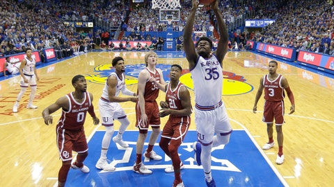<p>               Kansas' Udoka Azubuike (35) shoots during the first half of the team's NCAA college basketball game against Oklahoma Wednesday, Jan. 2, 2019, in Lawrence, Kan. (AP Photo/Charlie Riedel)             </p>