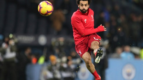 <p>               Liverpool's Mohamed Salah takes a shot as he warms up ahead of the English Premier League soccer match between Manchester City and Liverpool at the Ethiad stadium, Manchester England, Thursday, Jan. 3, 2019. (AP Photo/Jon Super)             </p>