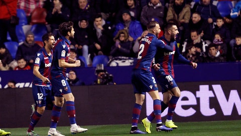 <p>               Levante defender Erick Cabaco, right , celebrates after scoring against Barcelona during the la Copa del Rey round of 16 first leg soccer match between Levante and Barcelona at the Ciutat de Valencia stadium in Valencia, Spain, Thursday Jan. 10, 2019. (AP Photo/Alberto Saiz)             </p>