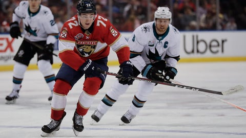 <p>               Florida Panthers center Frank Vatrano rushes to gain control of the puck against San Jose Sharks center Joe Pavelski during the second period of an NHL hockey game, Monday, Jan. 21, 2019, in Sunrise, Fla. (AP Photo/Brynn Anderson)             </p>
