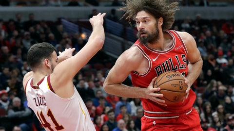 <p>               Chicago Bulls center Robin Lopez, right, drives against Cleveland Cavaliers center Ante Zizic during the first half of an NBA basketball game Sunday, Jan. 27, 2019, in Chicago. (AP Photo/Nam Y. Huh)             </p>