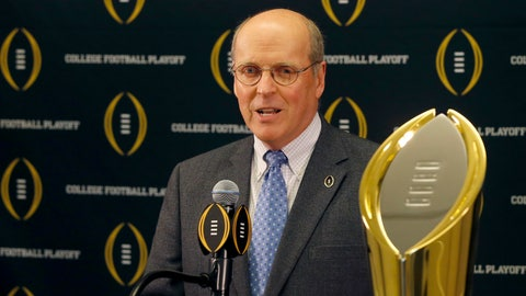 <p>               FILE - This is a Nov. 4, 2015, file photo showing College Football Playoff executive director Bill Hancock speaking during a press conference, in Rosemont, Ill. When talking about possible College Football Playoff expansion, the word momentum gets tossed around a lot as those who cover and follow the sport search for insight from experts and hints about what is next from power brokers. The postseason system is not quite halfway through a 12-year contract with ESPN that runs through 2026. The fifth College Football Playoff national champion will be crowned Monday night when No. 1 Alabama faces No. 2 Clemson at Levi's Stadium in Santa Clara, California. Expansion seems inevitable. (AP Photo/Charles Rex Arbogast, File)             </p>