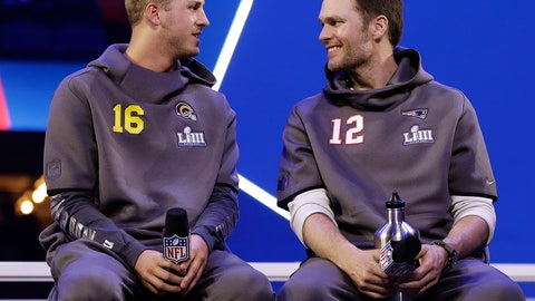 <p>               FILE - In this Monday, Jan. 28, 2019, file photo, Los Angeles Rams' Jared Goff talks to New England Patriots' Tom Brady during Opening Night for the NFL Super Bowl 53 football game in Atlanta. The wide-eyed, talented Goff will try to lead his Rams past the grizzled, 41-year-old Brady, who is looking to guide the Patriots to their sixth Super Bowl victory.   (AP Photo/Matt Rourke, File)             </p>