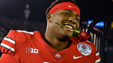 <p>               Ohio State quarterback Dwayne Haskins smiles, with a rose between his teeth, after Ohio State defeated Washington 28-23 in the Rose Bowl NCAA college football game Tuesday, Jan. 1, 2019, in Pasadena, Calif. (AP Photo/Mark J. Terrill)             </p>