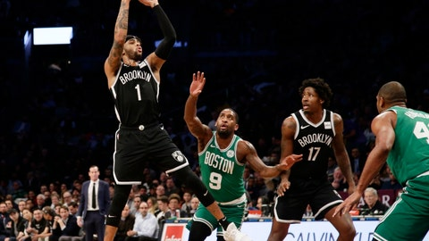 <p>               Brooklyn Nets' D'Angelo Russell (1) shoots over Boston Celtics' Brad Wanamaker (9) during the first half of an NBA basketball game Monday, Jan. 14, 2019, in New York. (AP Photo/Frank Franklin II)             </p>