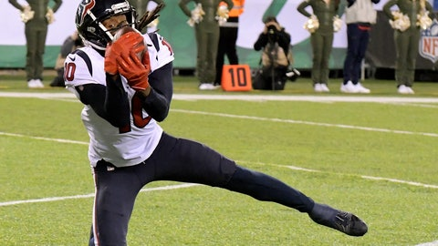 <p>               File-This Dec. 15, 2018, file photo shows Houston Texans wide receiver DeAndre Hopkins making a touchdown catch on a pass from quarterback Deshaun Watson, not pictured, during the first half of an NFL football game in East Rutherford, N.J. Hopkins has 103 receptions for 1,425 yards which ranks second in the NFL. He needs just nine catches and 97 yards receiving to surpass his career-highs of 111 receptions and 1,521 yards set in 2015. But he's not just close to outdoing his own numbers, he has a chance to pass Andre Johnson for two franchise receiving records with a big game on Sunday, Dec. 30, 2018. (AP Photo/Bill Kostroun, File)             </p>