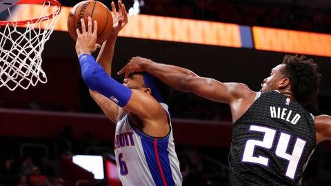 <p>               Sacramento Kings guard Buddy Hield (24) fouls Detroit Pistons guard Kalin Lucas (6) during the first half of an NBA basketball game in Detroit, Saturday, Jan. 19, 2019. (AP Photo/Paul Sancya)             </p>