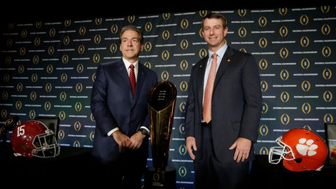 <p>               FILE - In this Jan. 10, 2016, file photo, Alabama head coach Nick Saban, left, and Clemson head coach Dabo Swinney pose for a picture during a news conference for the NCAA college football playoff championship game, in Glendale, Ariz. The Tigers are set to square off against the Crimson Tide for the fourth straight year in the College Football Playoff in Monday night's, Jan. 7, 2019,  title game. While most of the players have changed since Alabama won the first meeting for the championship in January 2016, the coaches have remained the same.(AP Photo/Chris Carlson, File)             </p>