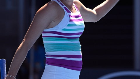 <p>               United States' Danielle Collins celebrates after defeating Germany's Angelique Kerber during their fourth round match at the Australian Open tennis championships in Melbourne, Australia, Sunday, Jan. 20, 2019. (AP Photo/Andy Brownbill)             </p>