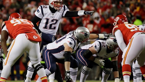 <p>               FILE- In this Jan. 20, 2019, file photo New England Patriots quarterback Tom Brady (12) calls a play during the first half of the AFC Championship NFL football game against the Kansas City Chiefs in Kansas City, Mo. The Los Angeles Rams and New England Patriots are bringing two of the top scoring offenses in the NFL to the Super Bowl. (AP Photo/Elise Amendola, File)             </p>