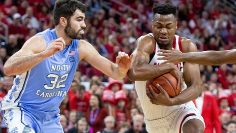 <p>               North Carolina State's Torin Dorn, right, drives against North Carolina's Luke Maye (32) during the first half of an NCAA college basketball game in Raleigh, N.C., Tuesday, Jan. 8, 2019. (AP Photo/Ben McKeown)             </p>