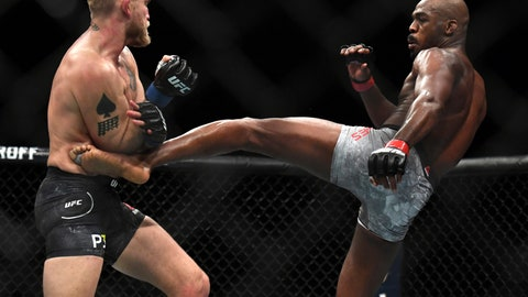 <p>               FILE - In this Dec. 29, 2018, file photo,Jon Jones, right, lands a kick to Alexander Gustafsson during the UFC men's light heavyweight mixed martial arts bout at UFC 232 in Inglewood, Calif. UFC light heavyweight champion Jones was granted a one-fight license by the Nevada State Athletic Commission on Tuesday, Jan. 29, clearing way for his title defense against Anthony Smith at UFC 235 on March 2. Jones had a hearing in front of the commission regarding the M3 metabolite, oral turinabol, for which he tested positive prior to his fight against Gustafsson at UFC 232, originally set for Las Vegas. (AP Photo/Kyusung Gong, File)             </p>