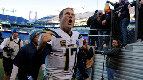 <p>               Los Angeles Chargers quarterback Philip Rivers celebates as he walks off the field after an NFL wild card playoff football game against the Baltimore Ravens, Sunday, Jan. 6, 2019, in Baltimore. Los Angeles won 23-17. (AP Photo/Carolyn Kaster)             </p>
