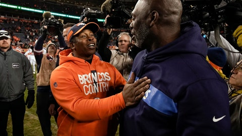 <p>               Denver Broncos head coach Vance Joseph, front left, greets Los Angeles Chargers head coach Anthony Lynn after an NFL football game, Sunday, Dec. 30, 2018, in Denver. (AP Photo/Jack Dempsey)             </p>