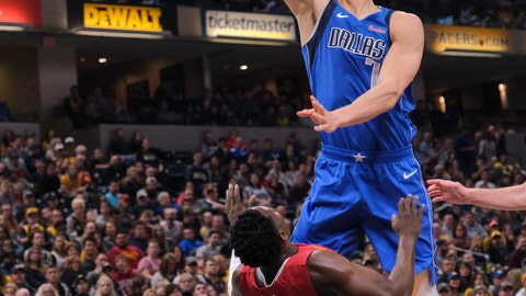 <p>               Dallas Mavericks forward Dwight Powell, right, shoots over Indiana Pacers guard Darren Collison during the first half of an NBA basketball game in Indianapolis, Saturday, Jan. 19, 2019. (AP Photo/AJ Mast)             </p>