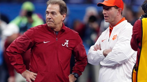 <p>               FILE - In this Jan. 1, 2018, file photo, Alabama head coach Nick Saban, left, and Clemson head coach Dabo Swinney talk before the Sugar Bowl semifinal playoff game for the NCAA college football national championship in New Orleans. Swinney and the Tigers play in their third national championship game in four seasons next Monday, Jan. 7, 2019, against top-ranked Alabama.  (AP Photo/Gerald Herbert, File)             </p>