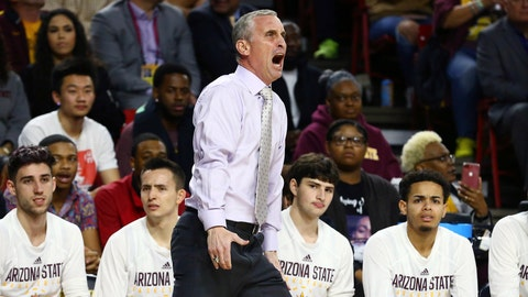 <p>               Arizona State head coach Bobby Hurley yells at the officials during the first half of an NCAA college basketball game against Oregon State, Thursday, Jan. 17, 2019, in Tempe, Ariz. (AP Photo/Ross D. Franklin)             </p>
