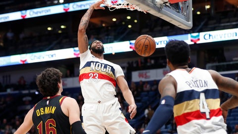 <p>               New Orleans Pelicans forward Anthony Davis (23) slam dunks over Cleveland Cavaliers forward Cedi Osman (16) in the first half of an NBA basketball game in New Orleans, Wednesday, Jan. 9, 2019. (AP Photo/Gerald Herbert)             </p>