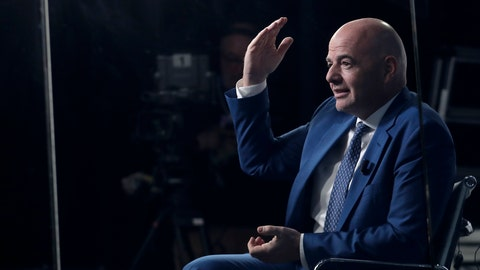 <p>               FIFA President Gianni Infantino sits in a television studio during an interview at the annual meeting of the World Economic Forum in Davos, Switzerland, Thursday, Jan. 24, 2019. (AP Photo/Markus Schreiber)             </p>