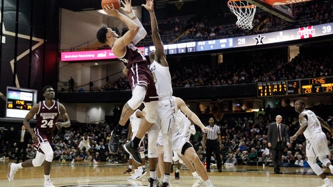 <p>               Mississippi State guard Quinndary Weatherspoon (11) shoots over Vanderbilt forward Aaron Nesmith (24) in the second half of an NCAA college basketball game Saturday, Jan. 19, 2019, in Nashville, Tenn. (AP Photo/Mark Humphrey)             </p>