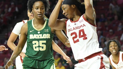 <p>               Oklahoma forward Ijeoma Odimgbe (24) pulls in a rebound front of Baylor center Queen Egbo (25) in the first half of an NCAA college basketball game in Norman, Okla., Sunday, Jan. 27, 2019. (AP Photo/June Frantz Hunt)             </p>
