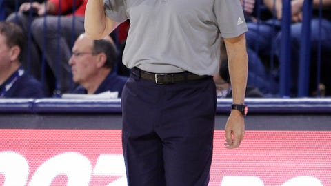 <p>               Loyola Marymount coach Mike Dunlap shouts to his team during the first half of an NCAA college basketball game against Gonzaga in Spokane, Wash., Thursday, Jan. 17, 2019. (AP Photo/Young Kwak)             </p>